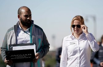 Alice Powell, Jaguar Ran Racing eTROPHY Team Germany on the track walk
