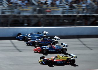 Greg Moore goes 4-wide on his in turn 1 before his fatal crash in the next corner.