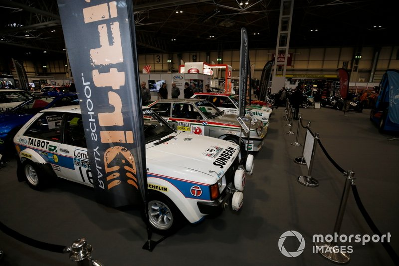 Rally cars on display at the Autosport show