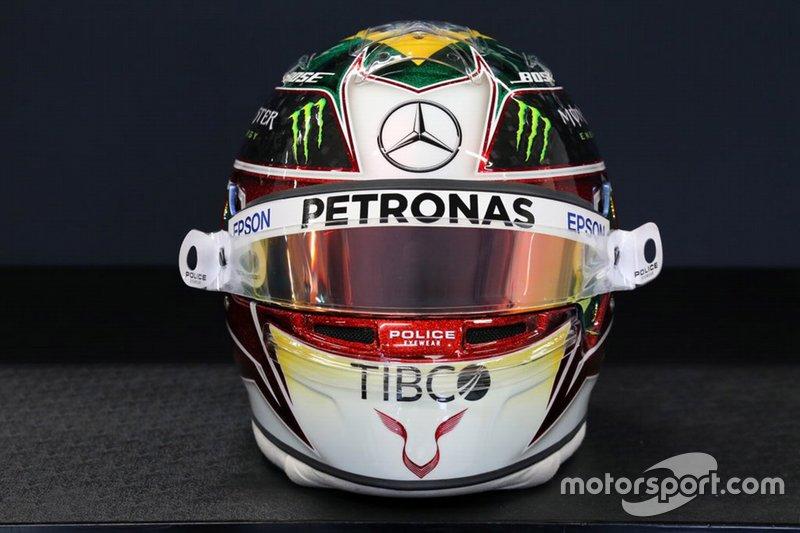 El casco de Lewis Hamilton, Mercedes AMG F1, para el GP de Brasil