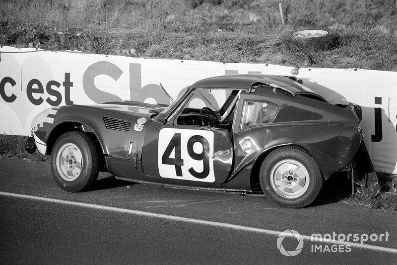 Coche accidentado de Mike Rothschild, Bob Tullius, Triumph Spitfire