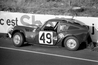 Crashed car of Mike Rothschild, Bob Tullius, Triumph Spitfire
