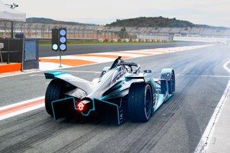 James Calado, Jaguar Racing, Jaguar I-Type 4, at the end of the pit lane