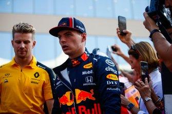 Nico Hulkenberg, Renault F1 Team, en Max Verstappen, Red Bull Racing