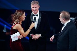 Presenter David Coulthard on stage during the presentation of the Aston Martin Autosport BRDC Young Driver Of The Year Award