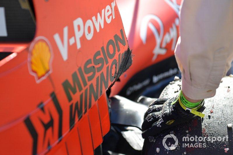 Sospensione danneggiata di Sebastian Vettel, Ferrari SF90