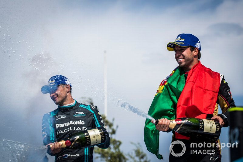 Antonio Felix da Costa, DS Techeetah, 2nd position, Mitch Evans, Jaguar Racing, 3rd position, celebrate on the podium