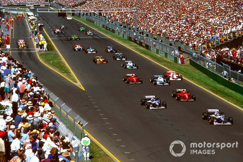 Jacques Villeneuve, Williams FW18 Renault, Damon Hill, Williams FW18 Renault, Eddie Irvine, Ferrari F310
