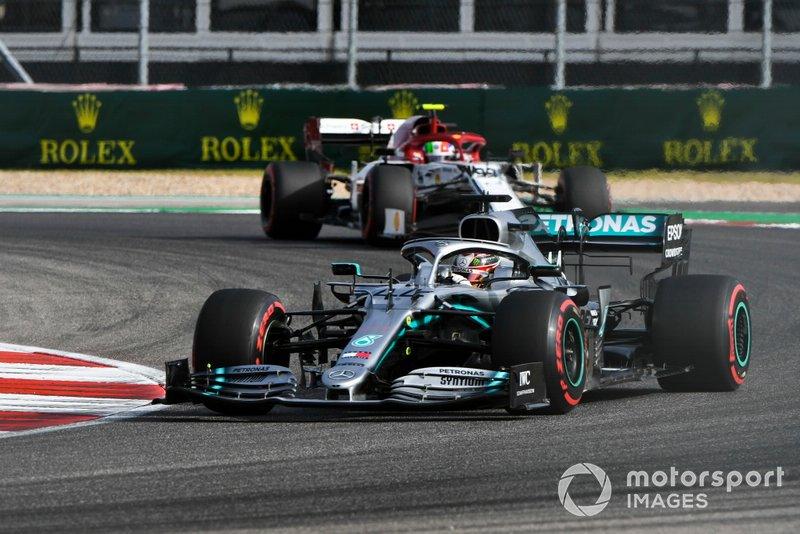 Lewis Hamilton, Mercedes AMG F1 W10, leads Antonio Giovinazzi, Alfa Romeo Racing C38
