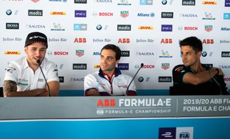 Daniel Abt, Audi Sport ABT Schaeffler, Jérôme d'Ambrosio, Mahindra Racing, Mitch Evans, Jaguar Racing tijdens een persconferentie