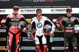 Polesitter Tom Sykes, BMW Motorrad WorldSBK Team, second place Scott Redding, Aruba.it Racing Ducati, third place Jonathan Rea, Kawasaki Racing Team
