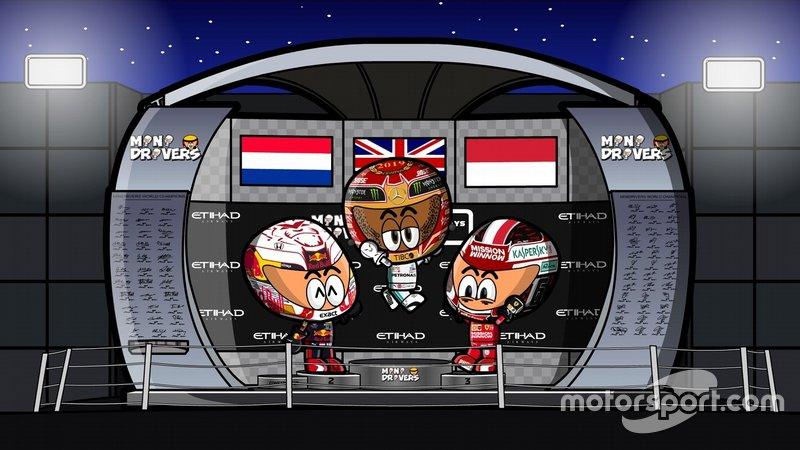 El podio del GP de Abu Dhabi 2019 de F1, por MiniDrivers