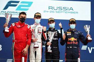 Podium: Race winner Oscar Piastri, Prema Racing, second place Theo Pourchaire, ART Grand Prix, third place Jehan Darvuala, Carlin
