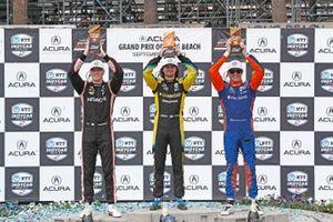 Josef Newgarden, Team Penske Chevrolet, second position, Colton Herta, Andretti Autosport w/ Curb-Agajanian Honda, first position, Scott Dixon, Chip Ganassi Racing Honda, third position