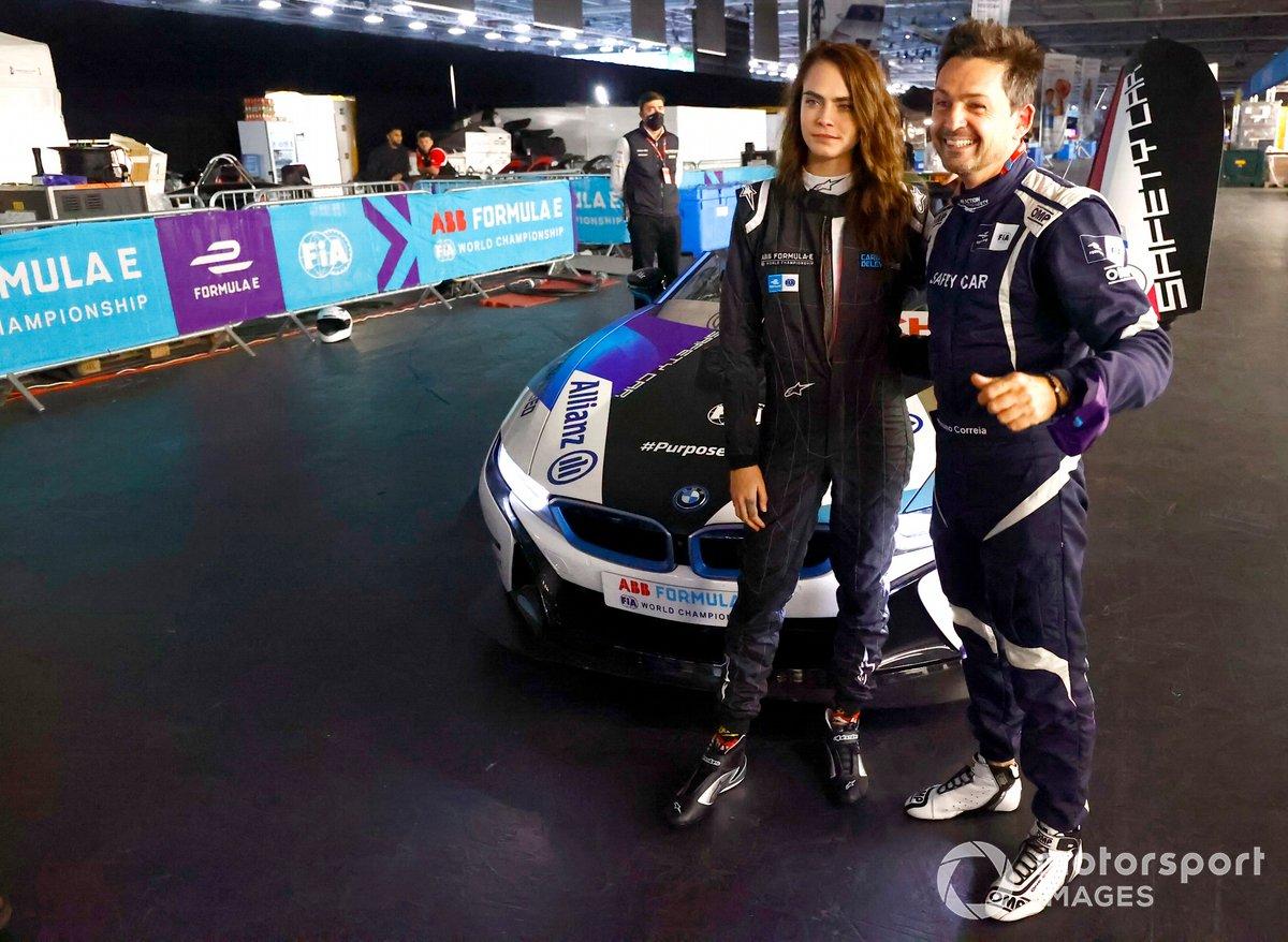 Model, Actress Cara Delevigne with Safety car driver Bruno Correa