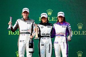 Alice Powell, Race Winner Jamie Chadwick and Nerea Marti celebrate on the podium