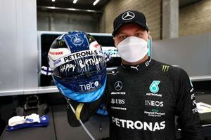 Valtteri Bottas, Mercedes, with his specially marked helmet on his birthday