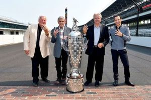 AJ Foyt, Al Unser, Rick Mears, Helio Castroneves with the Borg-Warner Trophy