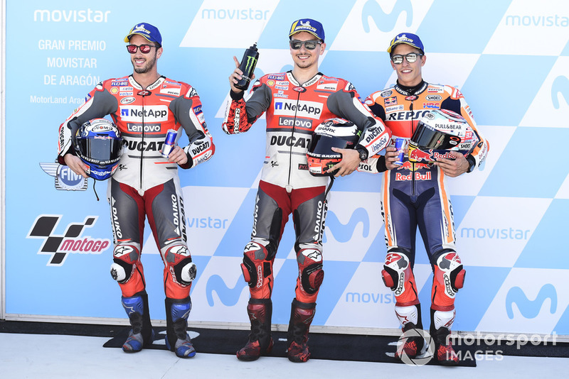 Qualifying top three: Andrea Dovizioso, Ducati Team, Jorge Lorenzo, Ducati Team, Marc Marquez, Repsol Honda Team