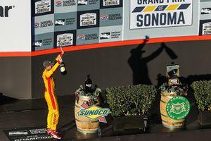 Ryan Hunter-Reay celebra la victoria, Andretti Autosport Honda