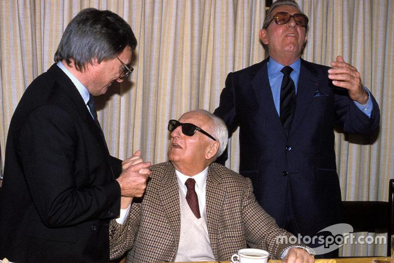 Maranello 1987, Enzo Ferrari, Bernie Ecclestone e Jean Marie Balestre nel giorno del rinnovo del Patto della Concordia