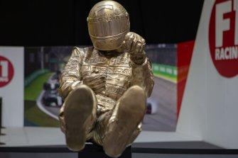 An Ayrton Senna sculpture by Paul Oz