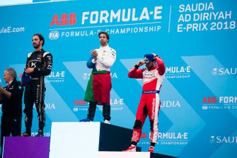 Winner Antonio Felix da Costa, BMW I Andretti Motorsports with second position Jean-Eric Vergne, DS TECHEETAH, third position Jérôme d'Ambrosio, Mahindra Racing on the podium