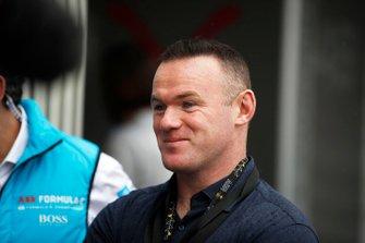 Footballer Wayne Rooney in the pit lane