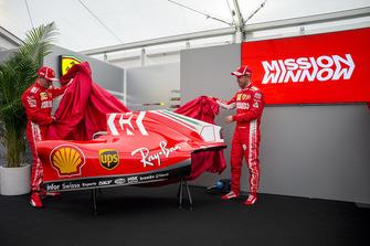 Kimi Raikkonen, Ferrari and Sebastian Vettel, Ferrari unveil the new Ferrari SF71H livery