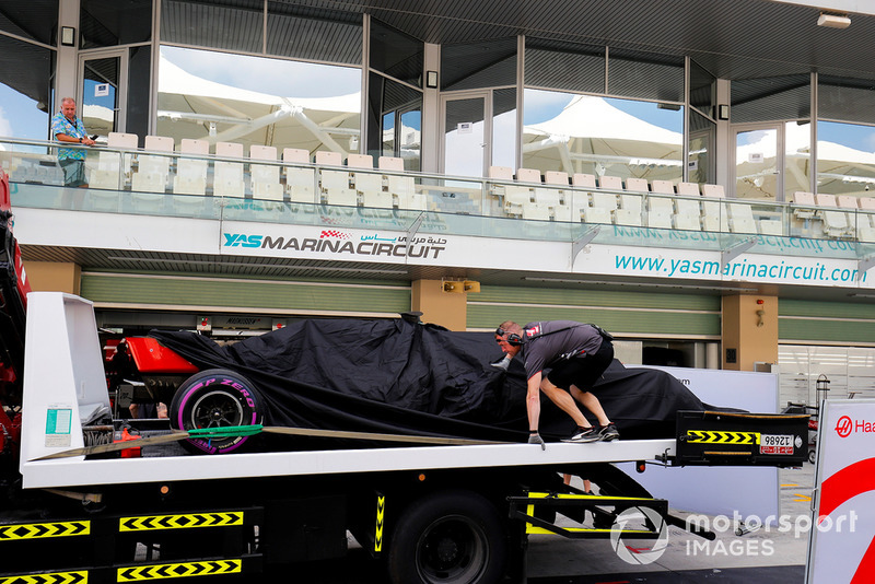 The Pietro Fittipaldi Haas F1 Team VF-18, is returned to the pits on a truck