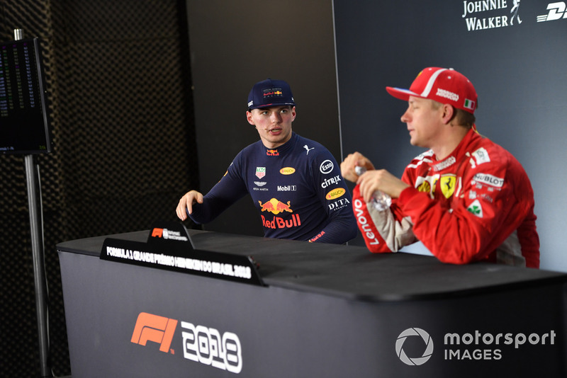 Max Verstappen, Red Bull Racing and Kimi Raikkonen, Ferrari in the press conference