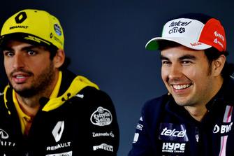Carlos Sainz Jr., Renault Sport F1 Team en Sergio Perez, Racing Point Force India F1 Team in de persconferentie