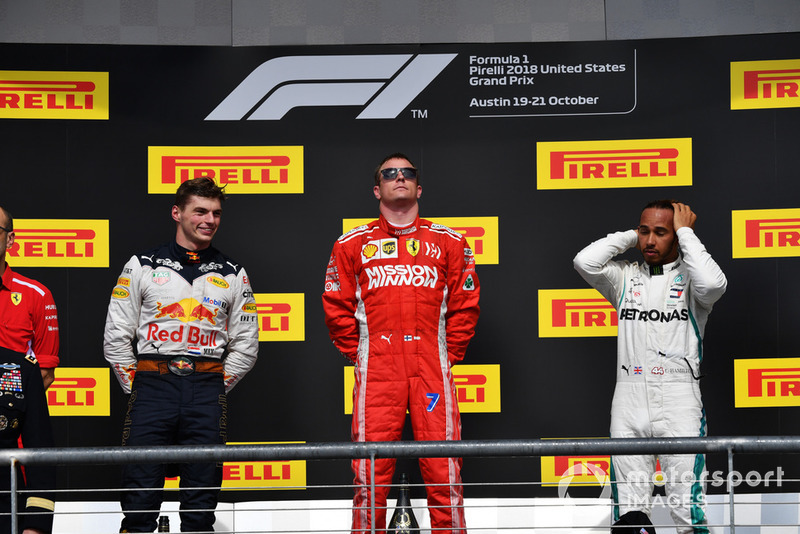 (L to R): Max Verstappen, Red Bull Racing, Kimi Raikkonen, Ferrari and Lewis Hamilton, Mercedes AMG F1 on the podium
