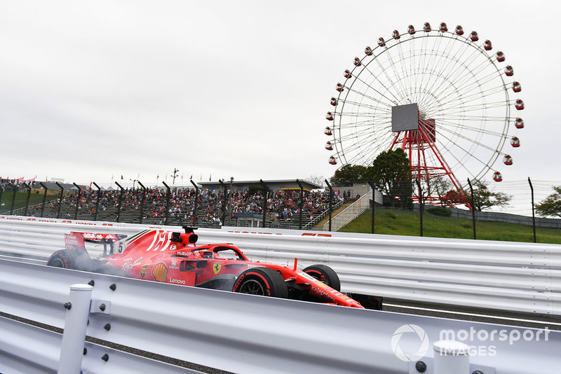 Sebastian Vettel, Ferrari SF71H locks up
