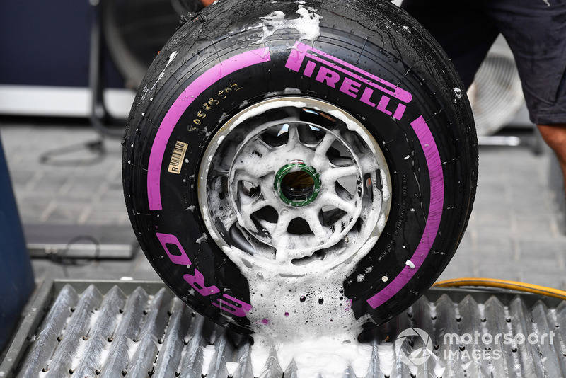 Red Bull Racing Pirelli tyre and wheel rim is washed