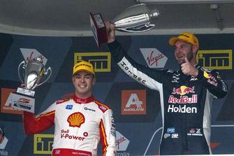 Podium: race winner Shane van Gisbergen, Triple Eight Race Engineering Holden, second place Scott McLaughlin, DJR Team Penske