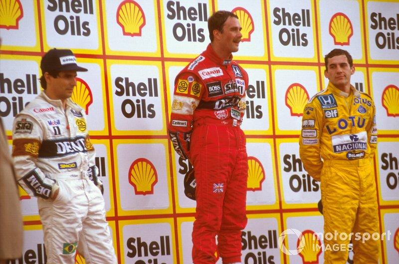 Nigel Mansell, Williams, Nelson Piquet, Williams, Ayrton Senna, McLaren, GP di Gran Bretagna del 1987