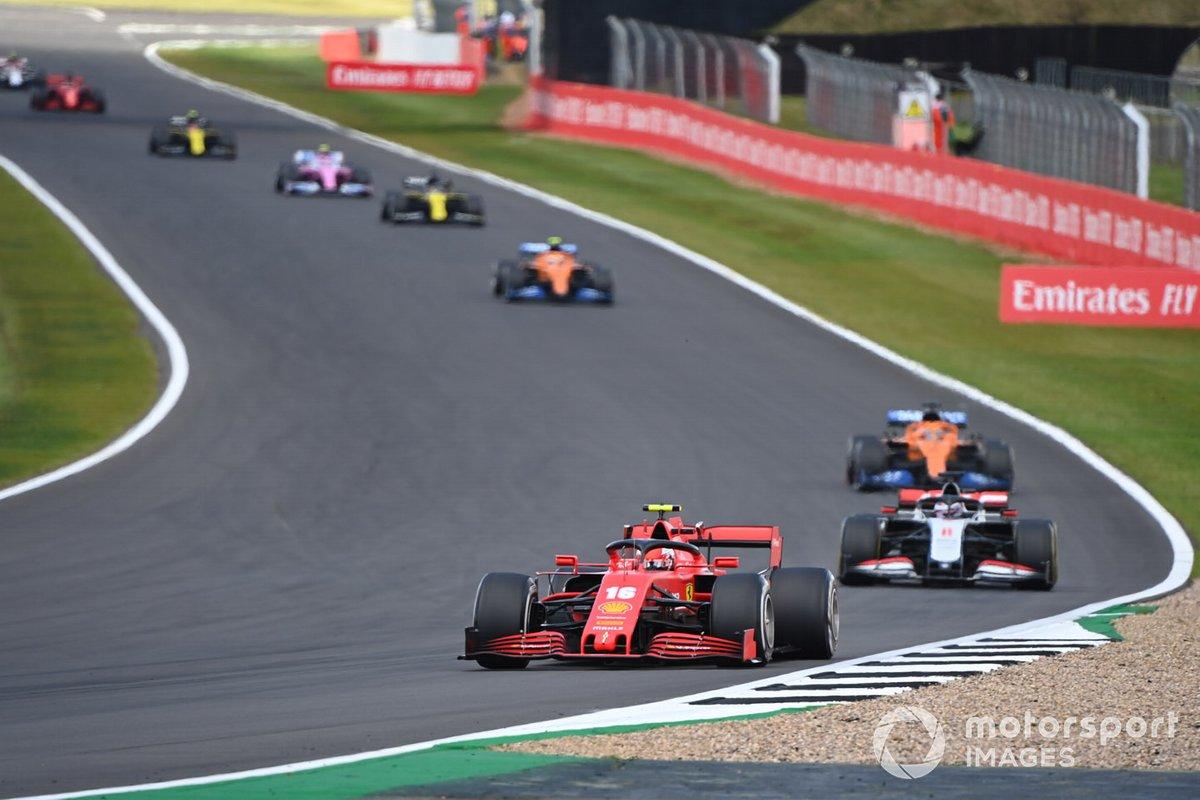 Charles Leclerc, Ferrari SF1000, Romain Grosjean, Haas VF-20, Carlos Sainz Jr., McLaren MCL35, Lando Norris, McLaren MCL35