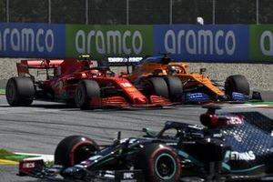 Lewis Hamilton, Mercedes F1 W11 EQ Performance, leads Charles Leclerc, Ferrari SF1000, and Carlos Sainz Jr., McLaren MCL35