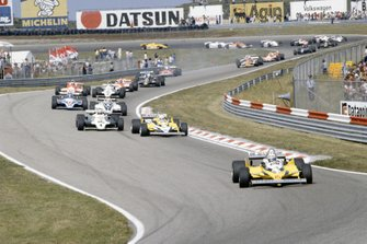 Alain Prost, Renault RE30 leads Rene Arnoux, Renault RE30, Alan Jones, Williams FW07C-Ford Cosworth at the start