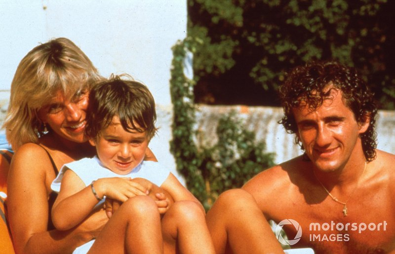 Alain Prost at home with his wife Anne-Marie and son Nicolas