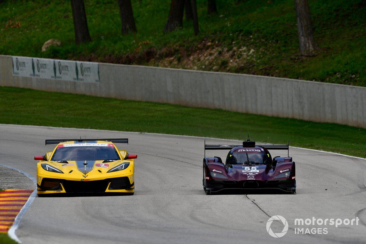 #4 Corvette Racing Corvette C8.R, GTLM: Oliver Gavin, Tommy Milner, #55 Mazda Team Joest Mazda DPi, DPi: Jonathan Bomarito, Harry Tincknell, ©2020, Peter Burke