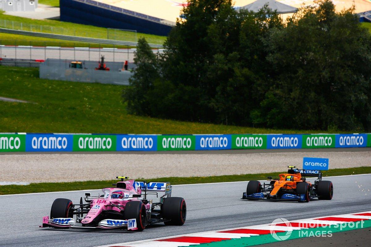 Lance Stroll, Racing Point RP20, precede Lando Norris, McLaren MCL35