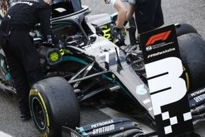 The car of Valtteri Bottas, Mercedes F1 W11 EQ Performance, 3rd position, in Parc Ferme