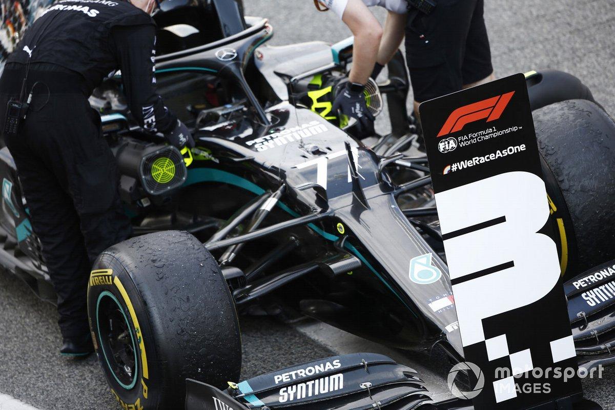 The car of Valtteri Bottas, Mercedes F1 W11 EQ Performance, 3rd position, in Parc Ferme