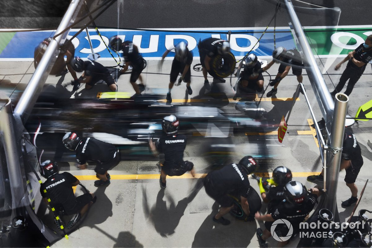 Mercedes Pit stop practice with the car of Valtteri Bottas, Mercedes F1 W11