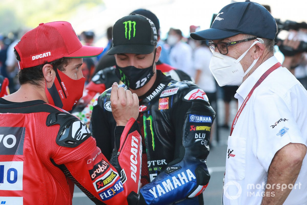 Andrea Dovizioso, Ducati Team, Maverick Vinales, Yamaha Factory Racing, Carmelo Carmelo Ezpeleta, CEO Dorna Sports