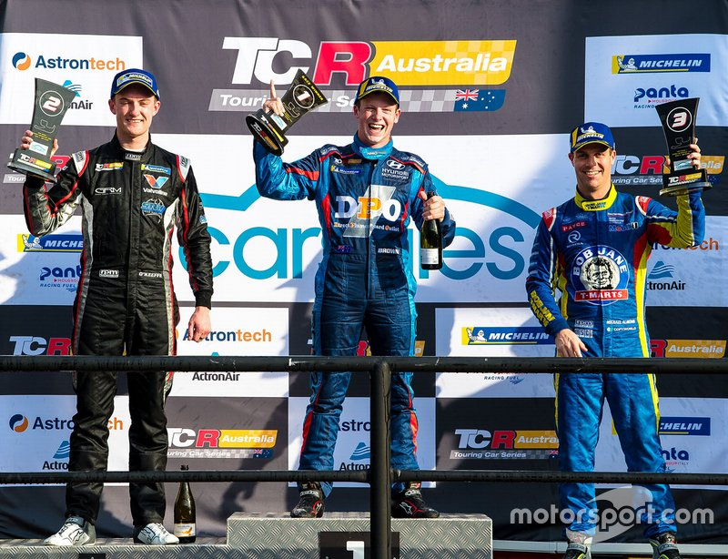 Podium: race winner Will Brown, HMO Customer Racing, second place Dylan O'Keeffe, Ashley Seward Motorsport, third place Michael Almond, Garth Walden Racing