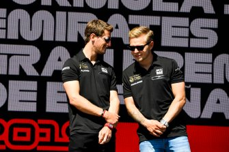Romain Grosjean, Haas F1 and Kevin Magnussen, Haas F1 on stage at the Fan Zone