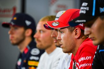 Sebastian Vettel, Ferrari, George Russell, Williams Racing, Carlos Sainz Jr., McLaren, Valtteri Bottas, Mercedes AMG F1 and Pierre Gasly, Red Bull Racing in Press Conference